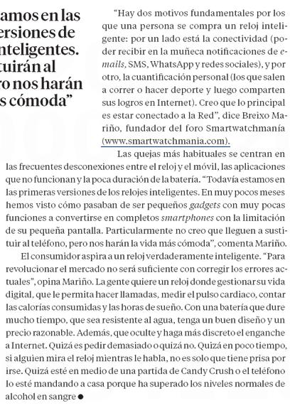 SmartwatchMania en El Pais Semanal